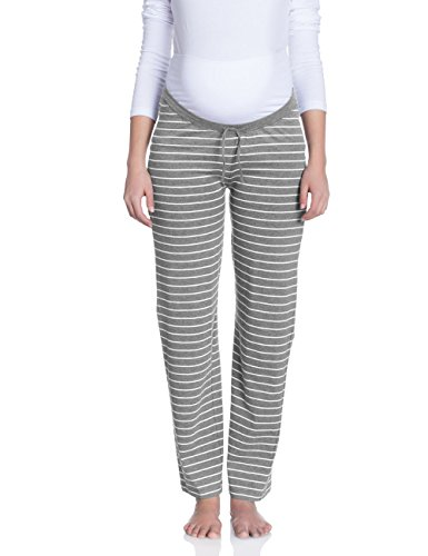 bellybutton Damen Umstands Schlafanzughose EVIE, Gestreift, Gr. X-Small, Grau (grey melange italy 8110)