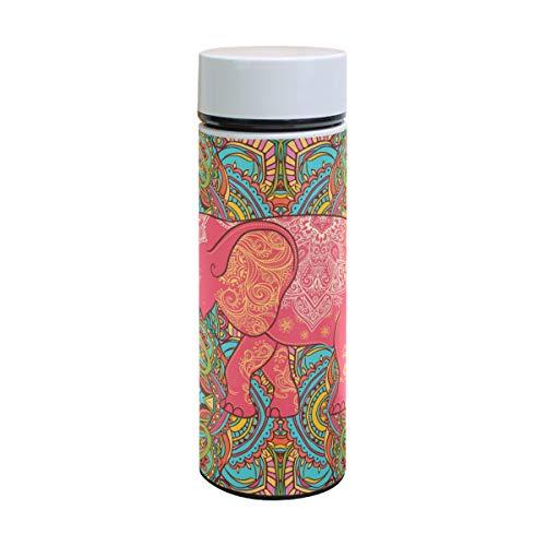 Bennigiry - Botella de agua de acero inoxidable con diseño de elefante...