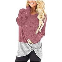 Auifor Frauen Round Neck Langarm-Farben-Block Torsions-Knoten lässiges T-Shirt Tops Tunika