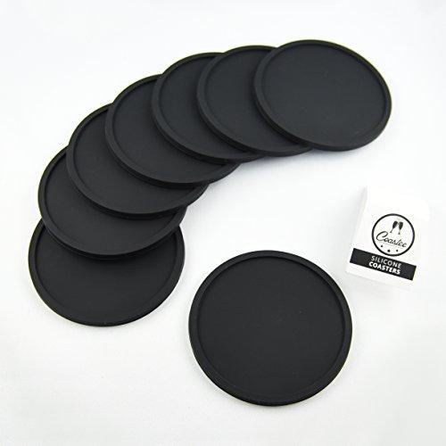 Sottobbicchieri in silicone Coastee - Set di 8 sottobicchieri neri da bar, salone, cucina