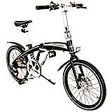 """NEGRO TRAKBIKE CITY - 20 """"de aluminio compacto plegable de 7 velocidades Shimano para bicicleta"""