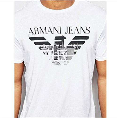 Armani Jeans de New York Skyline Logo T-Shirt BIANCO C6H701 (M, BIANCO)