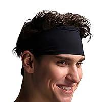 VIMOV Mens Headband - Sports Sweatband for Running, Cycling, Yoga, Basketball - Stretchy Moisture Wicking Hairband, 2 Pack Black