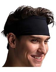 VIMOV Bandeaux Homme - Bande de Sport Sweatband pour Course, vélo, Yoga, Basket-Ball - élastique humidité Wicking Hairband, 2 Pack