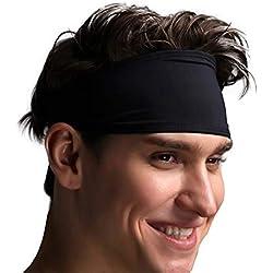 Venda para Hombre - Sudadera Deportiva para Correr, Ciclismo, Yoga, Baloncesto - Pelo elástico para la Humedad, 2 Paquetes Negro