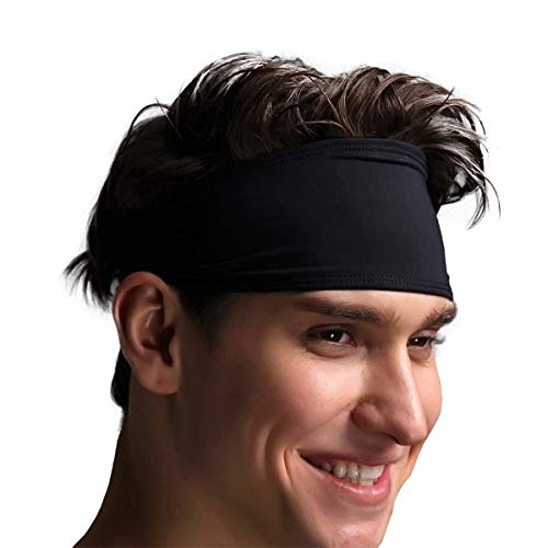 VIMOV Herren Stirnband - Sport Schweißband für Laufen, Radfahren, Yoga, Basketball - Dehnbar Feuchtigkeit Wicking Haarband, (2 Pack) Schwarz Jordan Stretch-cap