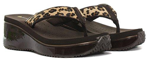 Dunlop Femme Flip Flops avec Wedge, Leopard Léopard