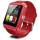 LEMFO Bluetooth Smart Watch Reloj Pulsera Inteligente U8 UWatch, Apto para Smartphones IOS Android Apple iphone 4/4S/5/5C/5S Android Samsung S2/S3/S4/Note 2/Note 3 HTC Sony Blackberry - Rojo