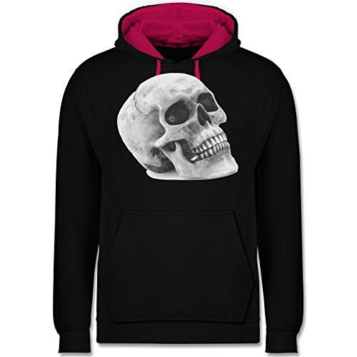 Piraten & Totenkopf - Totenkopf Skull - Kontrast Hoodie Schwarz/Fuchsia