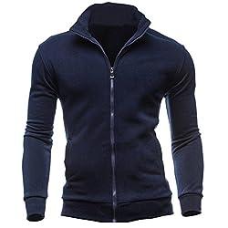 Challen Men's 2017 Autumn Winter Leisure Sports Cardigan Zipper Sweatshirts Tops Jacket Coat