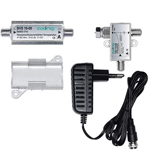 Axing BVS 10-01 Verstärkerset (Verstärker BVS 10-00, Netzteil TZU 11-01, Fernspeiseweiche TZU 15-01, Montagesockel) (Fm-radio-antenne-extender)