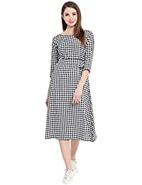 0acb6a792cb9da Fabnest Womens Black and White Check Dress with Belt