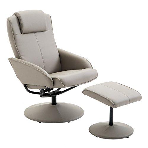 Homcom poltrona sedia relax reclinabile con sgabello poggiapiedi in ecopelle grigio