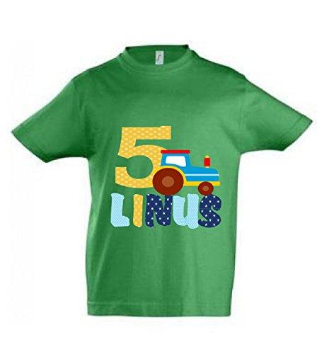 wolga-kreativ T-Shirt mit Namen Geburtstagsshirt Geburtstag Traktor Junge Wunschname personalisiert - Personalisierte Geburtstags-shirt