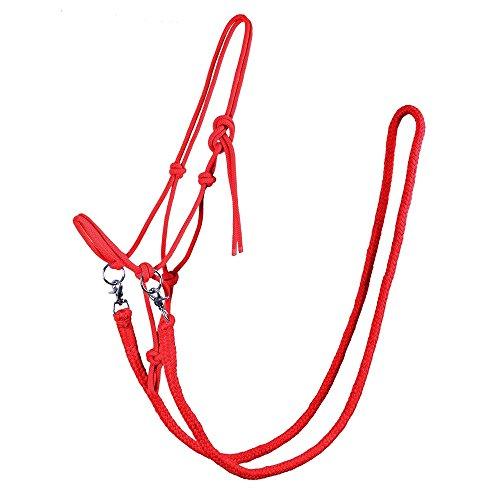 netproshop Knotenhalfter mit Zügel in tollen Farben für Shetty, Pony, Cob, Full Farbauswahl, Groesse:Shetty, Farbe:rot