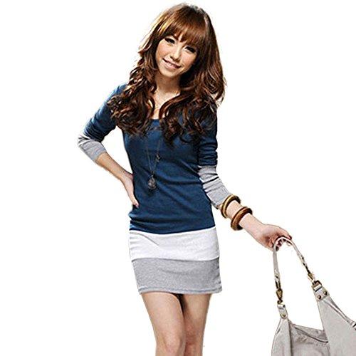 Leinen T-shirt Kleid (Damen Kleider Schwarz Frauen Bodycon Minikleid A Line Abendkleid Partykleid Cocktailkleid Langarm Streifen Basic Kleid Swing Kleider Tunika Kleid T-Shirt Slim Fit Dress (M, Sexy Blau))