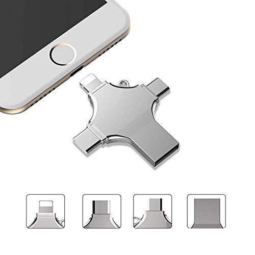 LIGHTOP Externer Speicher iPhone 4 in 1 USB Memory Stick-USB Flash Drive USB Stick 16/32/64/128GB mit Lightning Connector Metall USB Speicherstick speichererweiterung USB 2.0 Silber