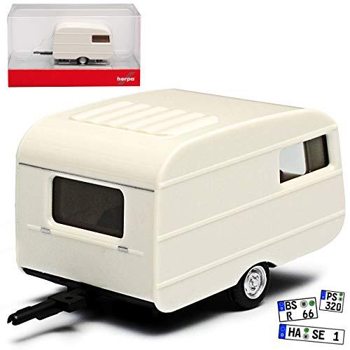 QEK Junior Wohnwagen Anhänger Weiss DDR 1974-1990 H0 1/87 Herpa Modell Auto mit individiuellem Wunschkennzeichen