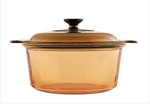 Visions 3.5 Litre Pyroceram Glass Stockpot with Glass Cover, Brown