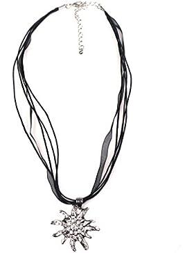 Trachten Halskette Edelweiß Strass schwarz