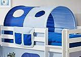 AVANTI TRENDSTORE - Konrad - Tunnel e tasca per letto a soppalco per bambini, stoffa in cotone celeste-blu scuro con motivo pirati. Dimensioni: LAP 90x76x100 cm (Celeste-blu scuro)
