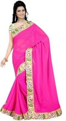 Fragrance Trendz chiffon saree for women with lace border and printed blouse piece  available at amazon for Rs.249
