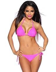 Pinker Push Up Triangel Bikini mit Strasssteinen Neonpink Neckholder Bikini neon
