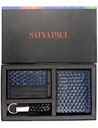 Satya Paul Leather Blue Unisex Wallet Combo Pack