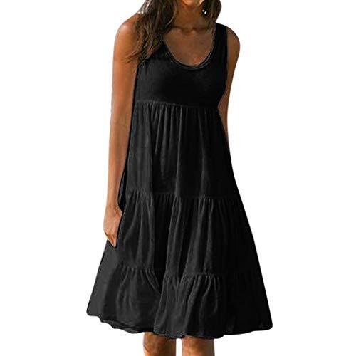 XuxMim Frauen-beiläufige Feste gekräuselte Taschen O-Ansatz verschieben tägliche geknöpfte Kleider(Schwarz,Small)