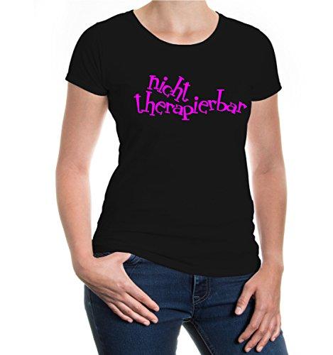 buXsbaum® Girlie T-Shirt Nicht Therapierbar Black-Neonpink