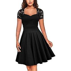 FeelinGirl Mujer Vestido de Noche Encaje Largo Traje Talla Extra Grande (Negro 5052, 3XL/ES 54-56)