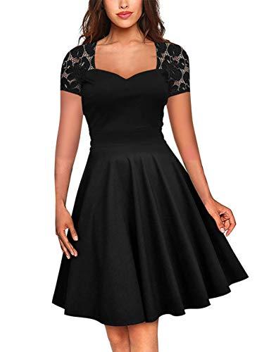 FeelinGirl Damen Plus Size Große Größen Elegantes Langes Spitzenkleid Cocktailkleid Abendkleid Hochzeit Brautkleid Elegant -