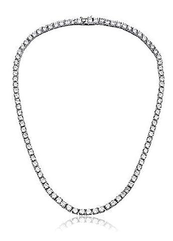 Womens Magnifique ronde 4mm Oxyde de Zirconium Tennis Collier