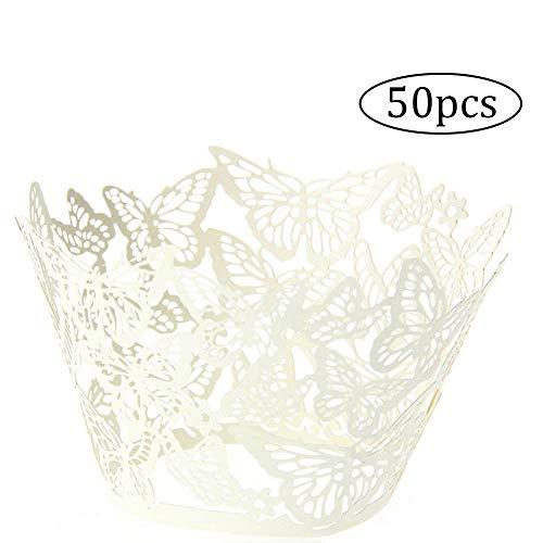 Cupcake-Manschetten, Schmetterlingsdesign, lasergeschnitten, für Hochzeitsfeiern, Weiß, 50Stück