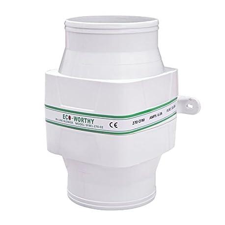 ECO WORTHY in line ventilador de sentina 12 V flujo de aire ventilador de refrigeraci n 270 CFM alta capacidad Silencioso bajo
