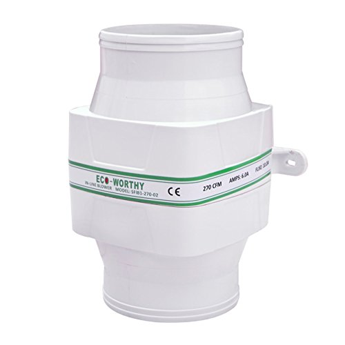 ECO-WORTHY in-line Gebläse Bilge 12 V Luftkühlung Fan 270 CFM Hohe Durchflussmenge Kapazität leise Running Low AMP