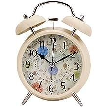 NAOZHONG Alta gama Europea pastoral Bell Cartoon Super creativo despertador la alarma silenciosa reloj luminoso de silencio , beige