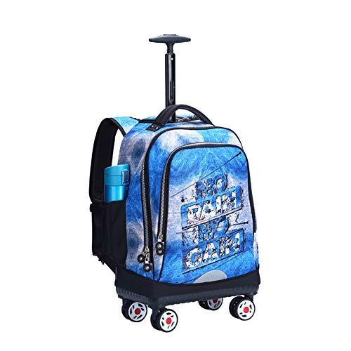 Zaino rotante da 19 pollici con ruote di grandi dimensioni, Zaino rotante per bambini Borse per trolley da viaggio per bambini 35L-G