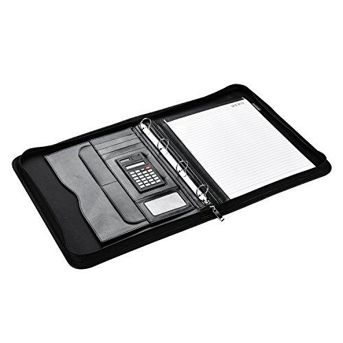Arpan - Cartellina porta documenti formato A4 con cerniera, raccoglitore ad anelli e calcolatrice, colore: Nero
