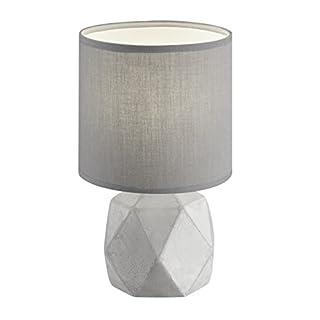 Reality Leuchten Tischleuchte, Keramik^Stoff, E14, Schirm grau, 16 x 16 x 28 cm