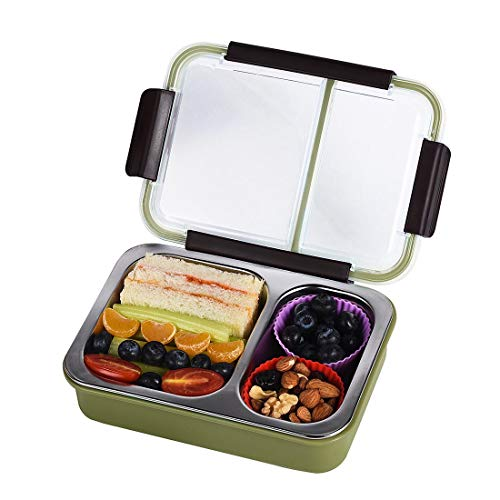 Bento Box 2 Compartments Stainless Steel Lunch Box for Adults and Kids, Portion Control Lunch Containers Leakproof, BPA Free - Green (Kids Bento-box-container)