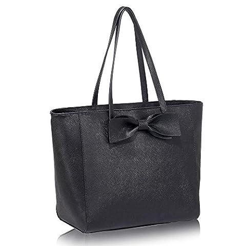 LeahWard® New Large Size Shopper Ladies Butterfly/Poppy Flower/Dragonflies Print Floar Tote Bags Handbags Quality Faux Leather Shoulder Handbag CWS00460A CWS00461 CWS00460 CWS00462 (GREY SHOPPER) (BLACK BOW SHOULDER BAG FOR WOMEN)