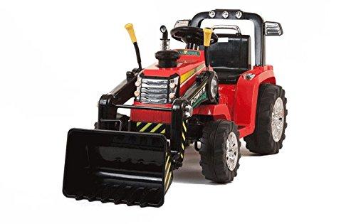 Mondial toys trattore per bambini con benna ruspa escavatore elettrico 12v con telecomando rosso