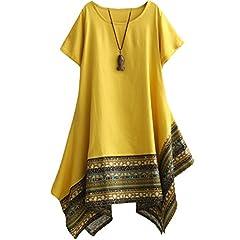 86a674ea46c Vogstyle Women's Summer Cotton Linen Short Sleeve Tee Shirt D ..