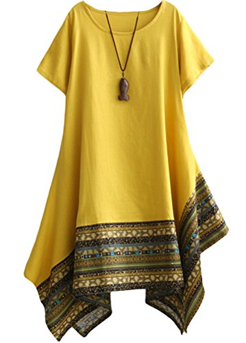 Vogstyle Women's Summer Cotton Linen Short Sleeve Tee Shirt Dress Irregular Hem Tunic