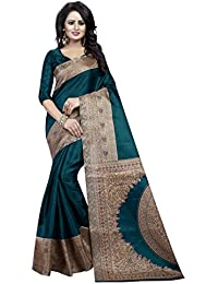 Rudra Sarees Women's Cotton Silk Saree With Blouse Piece (Latest Sale Saree 100_Green)