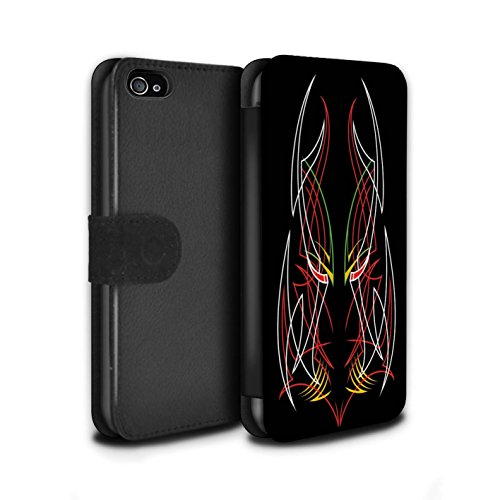 Stuff4 Coque/Etui/Housse Cuir PU Case/Cover pour Apple iPhone 4/4S / Bleu/Vert Design / Tribal Fines Rayures Collection Rouge/Blanc