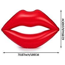 Flotador inflable en forma de labios tamaño gigante para la piscina o playa. Color rojo