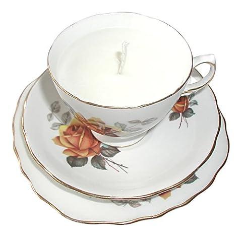 Vintage Royal Vale Rose Design English Bone China Tea Cup Candle Trio Eco Soya Wax Wedding Favour