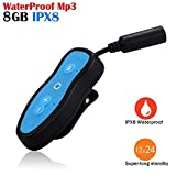 FidgetGear Waterproof 8GB MP3 Music Player + 3.5mm Earphone for Underwater Sports Swim Run Blue